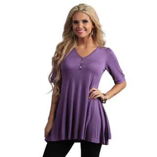24/7 Comfort Apparel Women's Half-sleeve Tunic Top|https://ak1.ostkcdn.com/images/products/7753177/P15150953.jpg?impolicy=medium