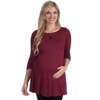 24/7 Comfort Apparel Women's Solid Maternity Tunic