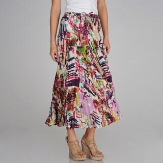 Grace Elements Abstract Printed Drawstring Waist Maxi Skirt