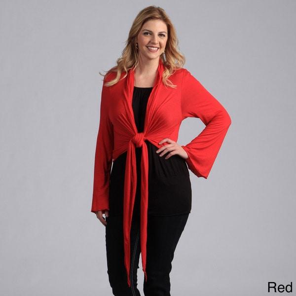 24/7 Comfort Apparel Women's Plus Size Tie-front Shrug