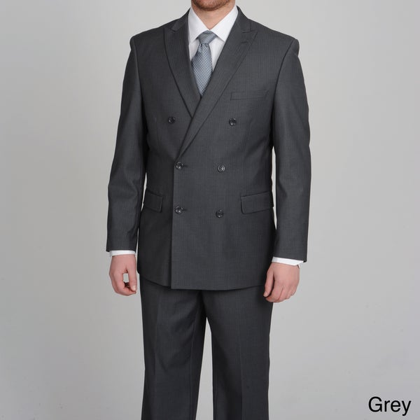 Caravelli Men's Slim Fit Double Breasted Tonal Stripe Suit - Free ...
