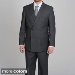 Caravelli Men's Slim Fit Double Breasted Tonal Stripe Suit