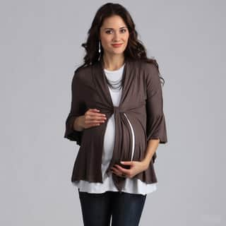 24/7 Comfort Apparel Maternity Tie-Front Flutter Sleeve Jacket|https://ak1.ostkcdn.com/images/products/7753205/P15150975.jpg?impolicy=medium