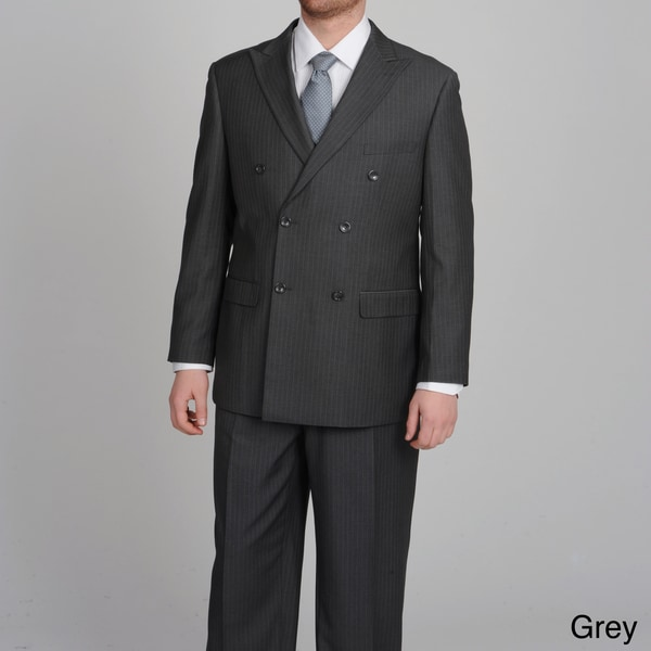 Caravelli Italy Men's Double Breasted Pinstripe Suit - Free ...