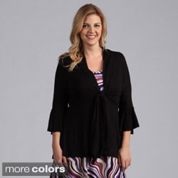 24/7 Comfort Apparel Plus Size Tie-Front Flutter Sleeve Jacket