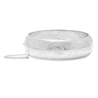 Sterling Silver 20 mm Hand-engraved Bangle Bracelet ( 7-inch )