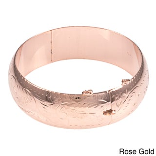 Sterling Essentials Silver 7-inch Hand-engraved Bangle Bracelet (Option: Up to 6 Inches - Pink - Rose Gold Plate/Sterling Silver - Rose)