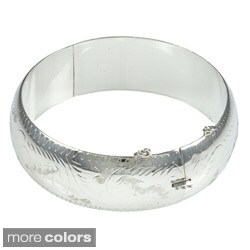 Sterling Essentials Silver 7-inch Hand-engraved Bangle Bracelet