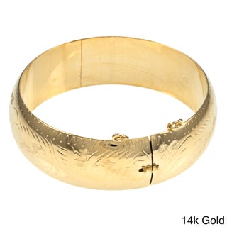 Sterling Essentials Silver 7-inch Hand-engraved Bangle Bracelet (Option: 7 Inch - Gold - Gold Plate/Sterling Silver - Yellow)