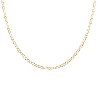 Sterling Essentials 14k Two Tone Gold Italian Pave Figaro Chain Necklace