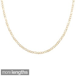 Sterling Essentials 14k Two-tone Gold Italian Pave Figaro Chain Necklace