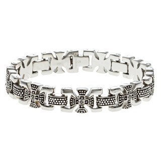 Stainless Steel 1/5ct TDW Black Diamond Tribal Cross Bracelet