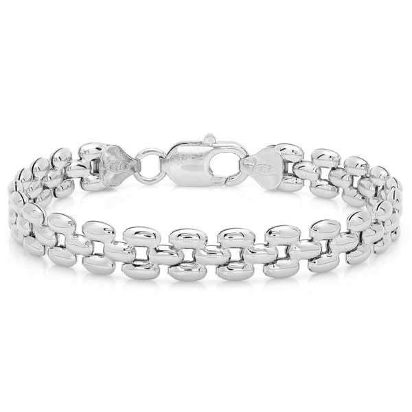 Sterling Essentials Italian Silver 7-inch Panther Link Bracelet