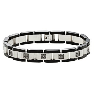 Stainless Steel 1/2ct TDW Black Diamond Link Bracelet