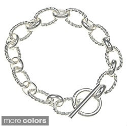 Sterling Essentials Silver 7.5-inch Twisted Oval Link Toggle Bracelet
