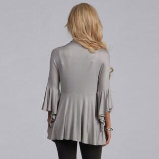 24/7 Comfort Apparel Tie-Front Flutter Sleeve Jacket