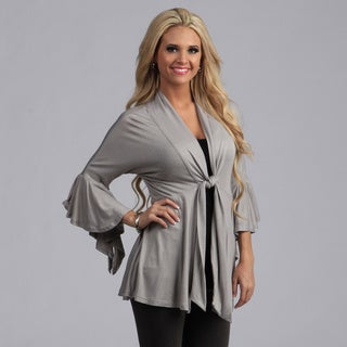24/7 Comfort Apparel Tie-Front Flutter Sleeve Jacket (More options available)