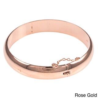 Sterling Essentials Silver 7-inch Polished Bangle Bracelet (Option: Pink - Rose Gold Plate/Sterling Silver - Rose)