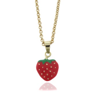 Molly and Emma 18k Gold Overlay Children's Enamel Strawberry Necklace