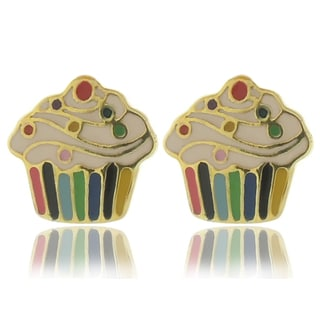 Molly and Emma 18k Gold Overlay Enamel Cupcake Stud Earrings