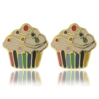 Molly and Emma 18k Gold Overlay Enamel Cupcake Stud Earrings