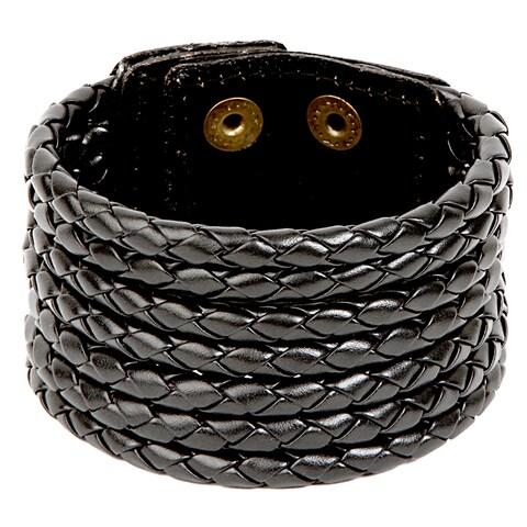 Woven Leather Round Strand Bracelet