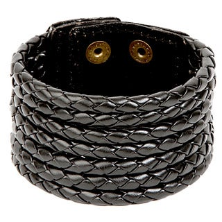 Woven Leather Round Strand Bracelet