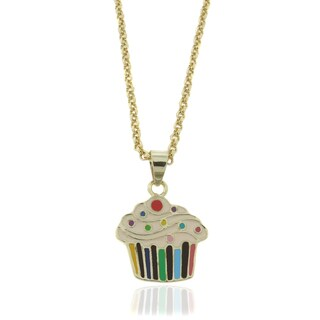 Molly and Emma 18k Gold Overlay Children's Enamel Cupcake Necklace