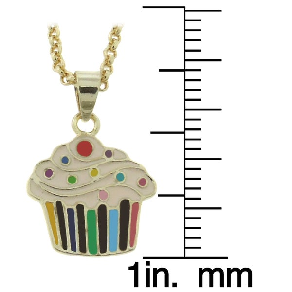 "2/"" Long Gold-Tone Multi Color Enamel Cupcake Kids Girls Pendant Necklace 14/"""