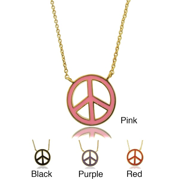 Shop Molly And Emma 18k Gold Overlay Childrens Enamel Peace Symbol