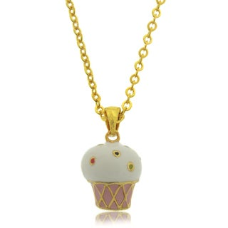 Molly and Emma 18k Gold Overlay Children's Enamel Ice Cream Necklace