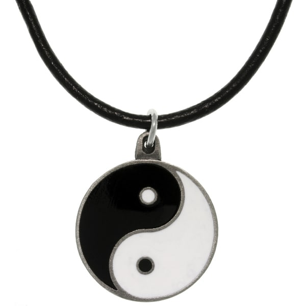 Pewter Yin Yang Leather Cord Necklace