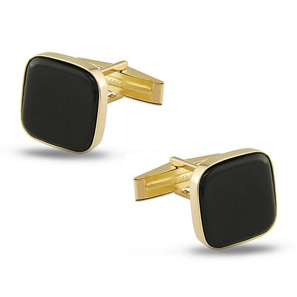 Miadora 14k Yellow Gold Onyx Cuff Links