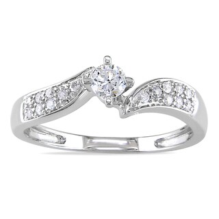 Miadora 14k White Gold 1/3ct TDW Diamond Engagement Ring