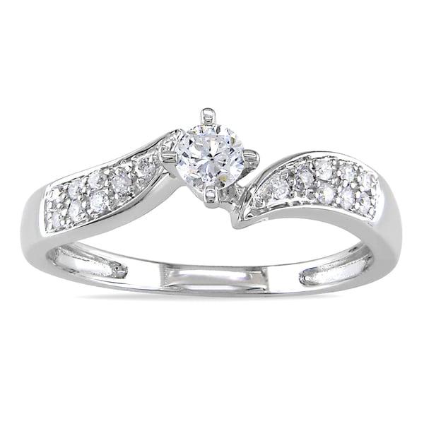 Miadora 14k White Gold 1/3ct TDW Diamond Engagement Ring