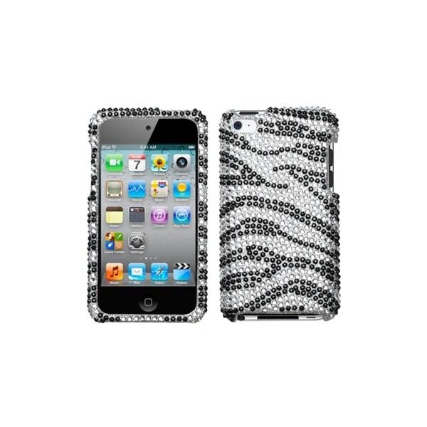 MYBAT Black Zebra Skin Diamante Case for Apple iPod Touch Generation 4