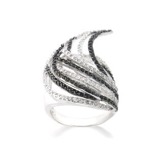 Icz Stonez Silvertone Black and White Cubic Zirconia Overlap Wing Ring