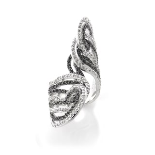 Icz Stonez Silvertone Black and White Cubic Zirconia Crossover Ring