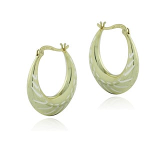 Mondevio 18k Gold over Silver Two-tone Round Hoop Earrings