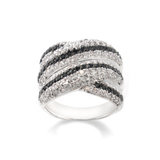 Icz Stonez Silvertone Brass Black-and-white Cubic Zirconia Crossover Ring
