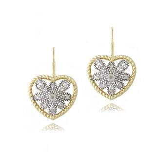 DB Designs 18k Gold over Silver 1/10ct TDW Diamond Heart Earrings