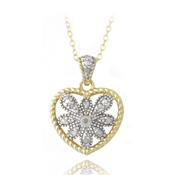 DB Designs 18k Gold over Silver 1/10ct TDW Diamond Necklace (I-J, I2-I3)
