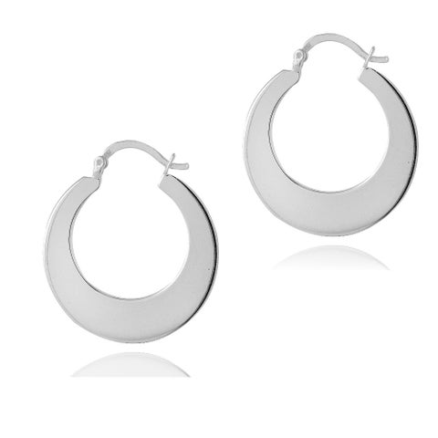 Mondevio Sterling Silver Flat Hoop Earrings