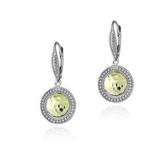 Mondevio Two-tone Sterling Silver Hammered Dangle Leverback Earrings