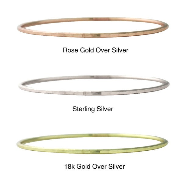 Mondevio Yellow or Rose Goldplated Sterling Silver Hammered Round Bangle Bracelet