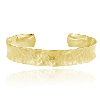 Mondevio 18k Gold over Sterling Silver Hammered Cuff Bracelet