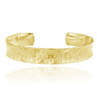 Mondevio 18k Gold over Sterling Silver Hammered Cuff Bracelet