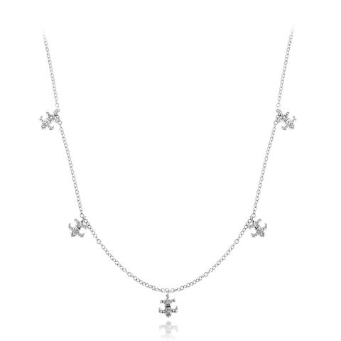 DB Designs Sterling Silver Diamond Accent Fleur De Lis Charm Necklace