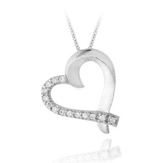 Icz Stonez Sterling Silver Cubic Zirconia Heart Necklace