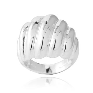 Mondevio Sterling Silver Ribbed Ring